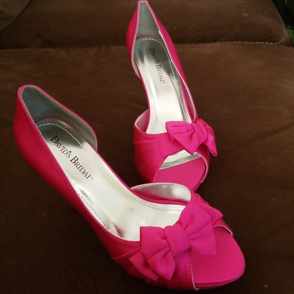 David s Bridal Shoes - HOT bright pink peep toe heels with adorable bow 6e4bbf8fd